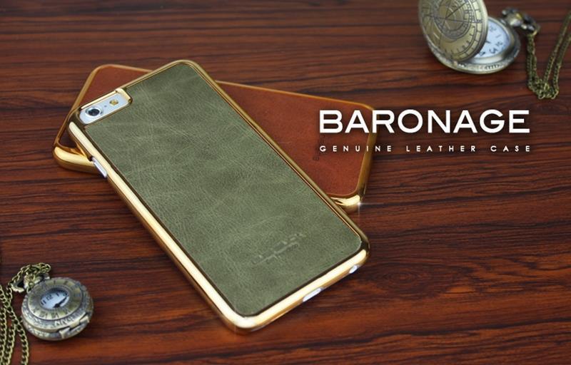 BUSHBUCK BARONAGE Classical Edition - Etui skórzane do iPhone 6s / iPhone 6 (oliwkowy)