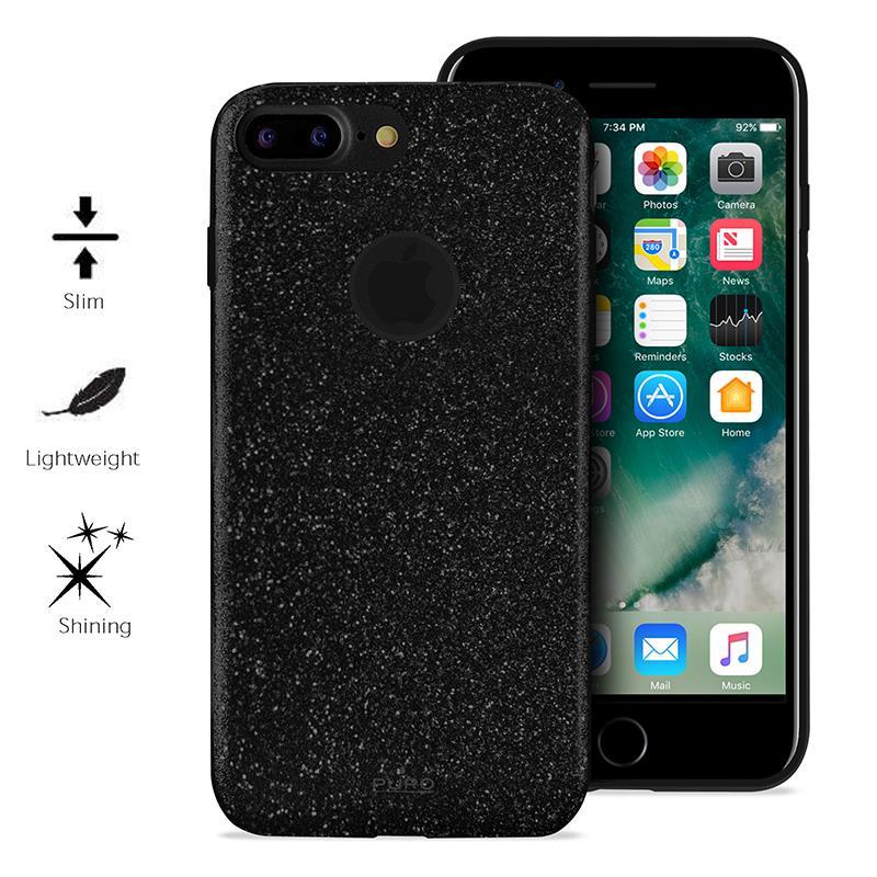 PURO Glitter Shine Cover - Etui iPhone 7 Plus (Piano Black)