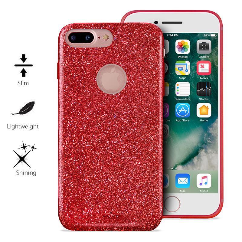 PURO Glitter Shine Cover - Etui iPhone 7 Plus (Red Love)