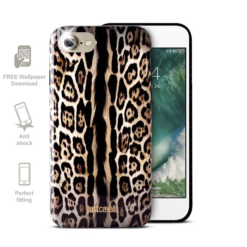 JUST CAVALLI Leopard Cover - Etui iPhone 7 (brązowy)