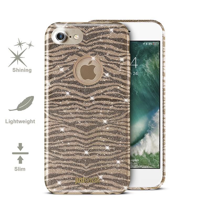 JUST CAVALLI Leo Zebra Glitter Cover - Etui iPhone 7 (Gold)