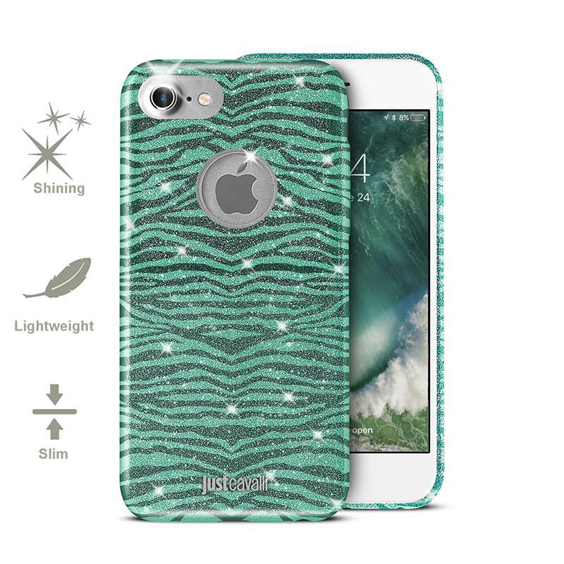 JUST CAVALLI Leo Zebra Glitter Cover - Etui iPhone 7 (Green)