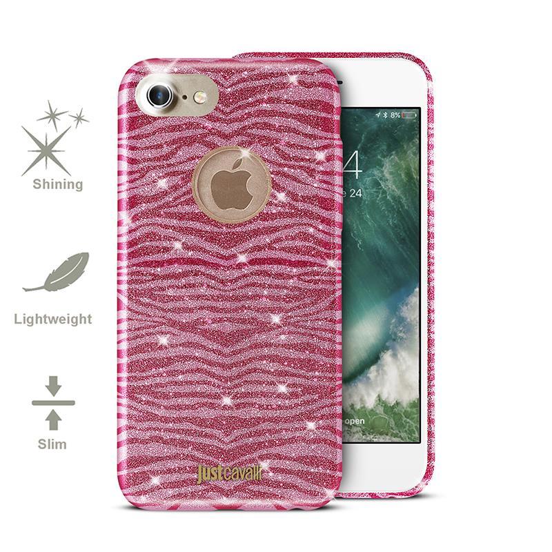 JUST CAVALLI Leo Zebra Glitter Cover - Etui iPhone 7 (Shock Pink)