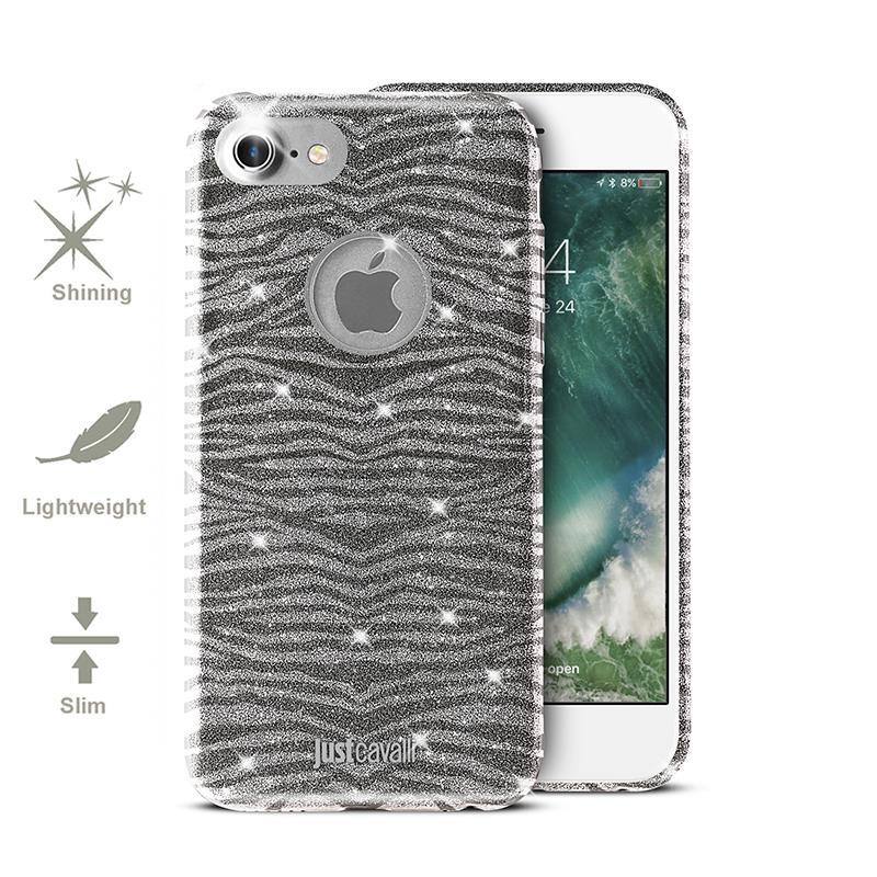 JUST CAVALLI Leo Zebra Glitter Cover - Etui iPhone 7 (Silver)
