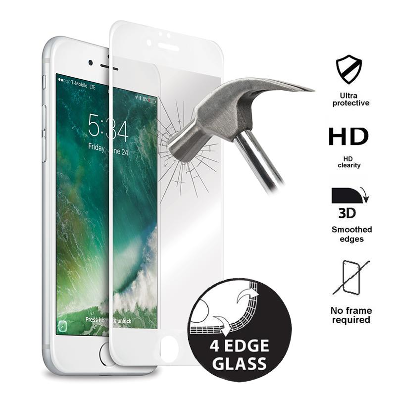 Puro Premium Full Edge Tempered Glass - Szkło ochronne hartowane na ekran iPhone 7 Plus (biała ramka)
