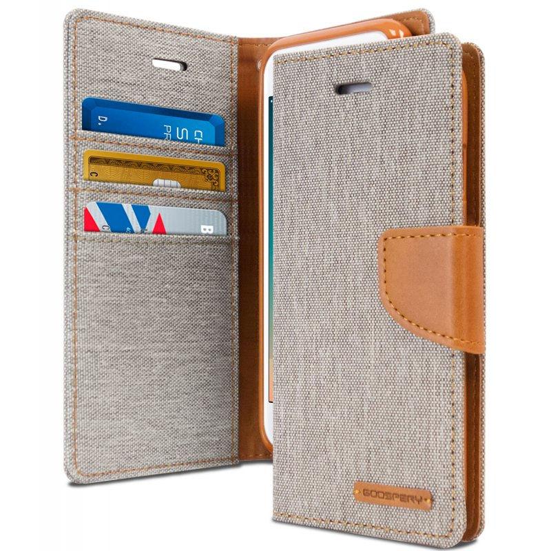 Mercury Canvas Diary - Etui iPhone 6s / iPhone 6 z kieszeniami na karty + stand up (szary/camel)