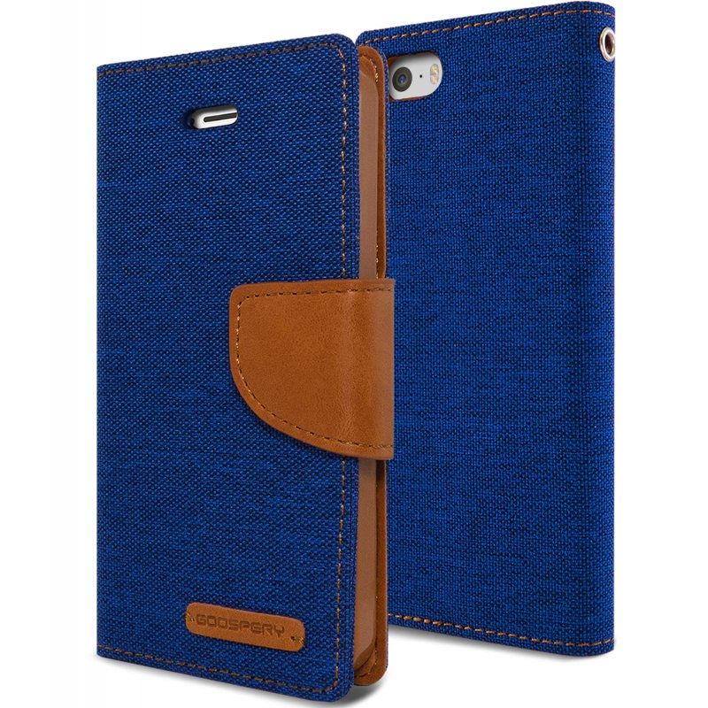 Mercury Canvas Diary - Etui iPhone SE / iPhone 5s / iPhone 5 z kieszeniami na karty + stand up (granatowy/camel)