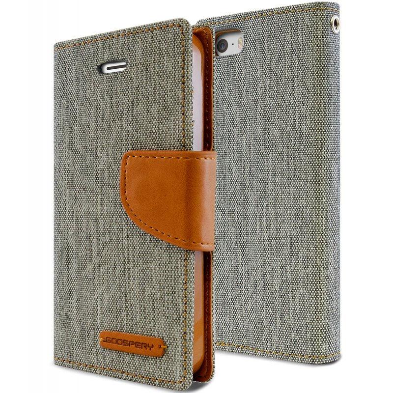 Mercury Canvas Diary - Etui iPhone SE / iPhone 5s / iPhone 5 z kieszeniami na karty + stand up (szary/camel)