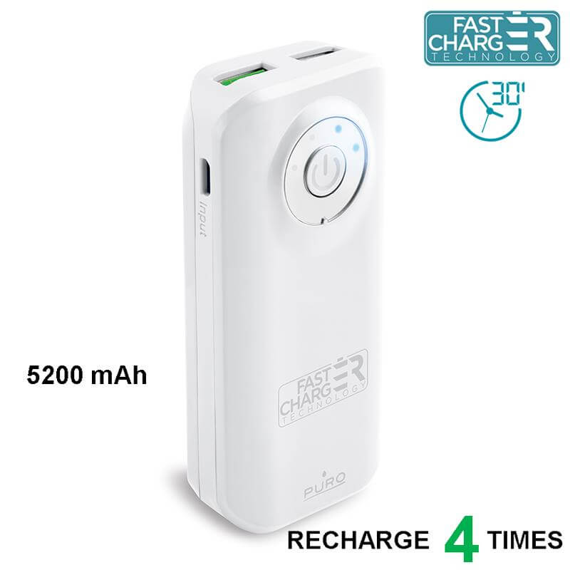 PURO Universal External Fast Charger Battery - Uniwersalny Power Bank 5200 mAh, 2 x USB, 2.4 A (biały)