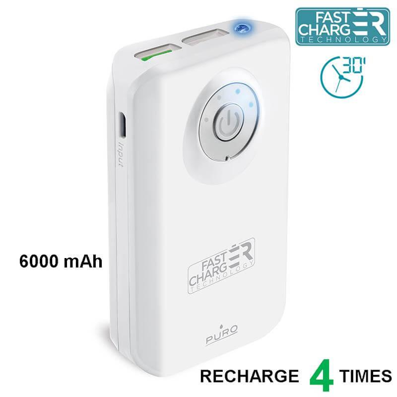 PURO Universal External Fast Charger Battery - Uniwersalny Power Bank z latarką 6000 mAh, 2 x USB, 2.4 A (biały)