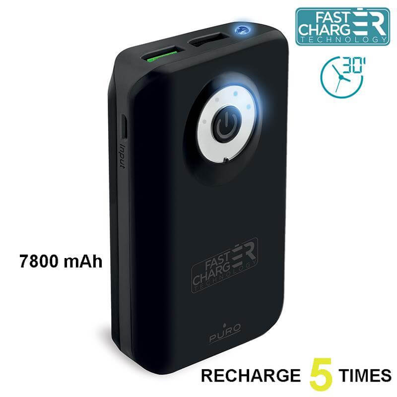 PURO Universal External Fast Charger Battery - Uniwersalny Power Bank z latarką 7800 mAh, 2 x USB, 2.4 A (czarny)