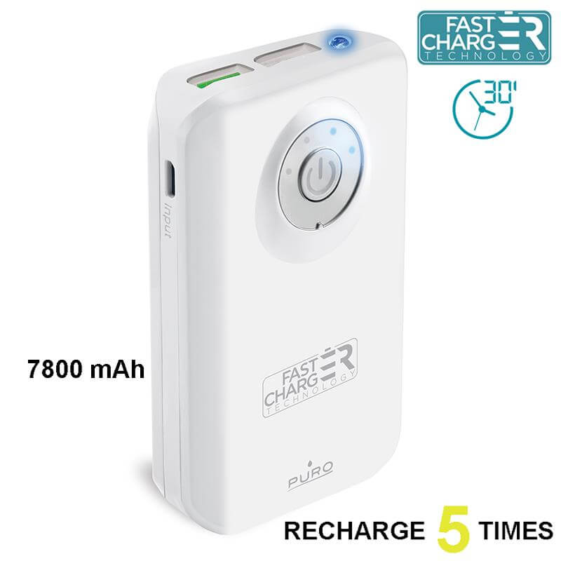 PURO Universal External Fast Charger Battery - Uniwersalny Power Bank z latarką 7800 mAh, 2 x USB, 2.4 A (biały)
