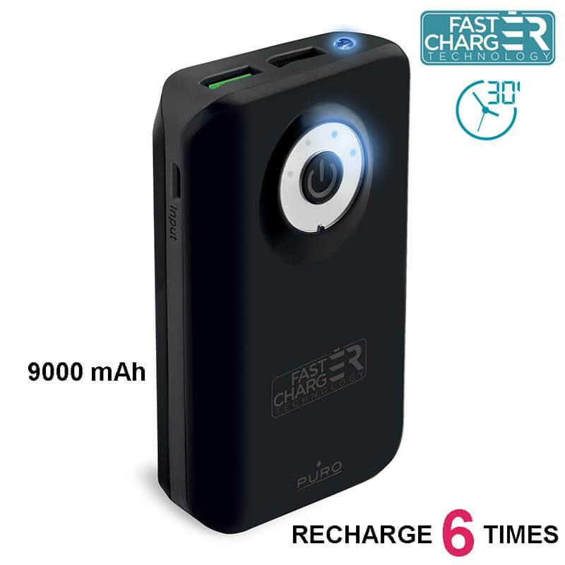 PURO Universal External Fast Charger Battery - Uniwersalny Power Bank z latarką 9000 mAh, 2 x USB, 2.4 A (czarny)