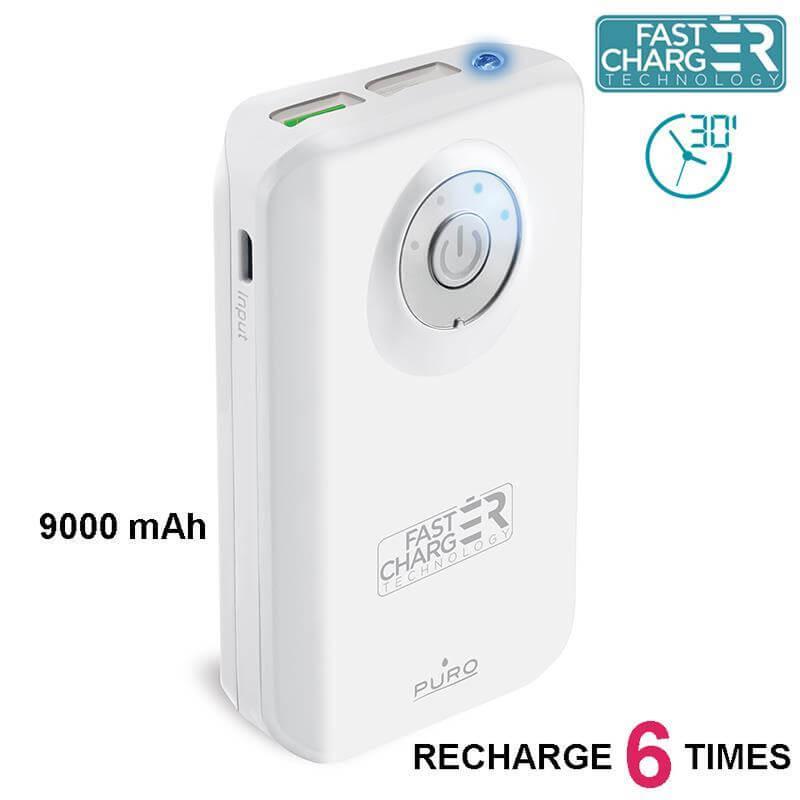PURO Universal External Fast Charger Battery - Uniwersalny Power Bank z latarką 9000 mAh, 2 x USB, 2.4 A (biały)