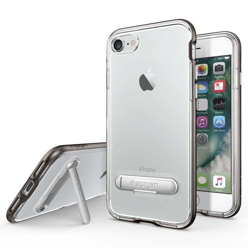 Spigen Crystal Hybrid - Etui iPhone 7 + stand up (Gun Metal)