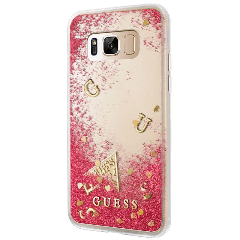 Guess Liquid Glitter - Etui Samsung Galaxy S8 (malinowy)