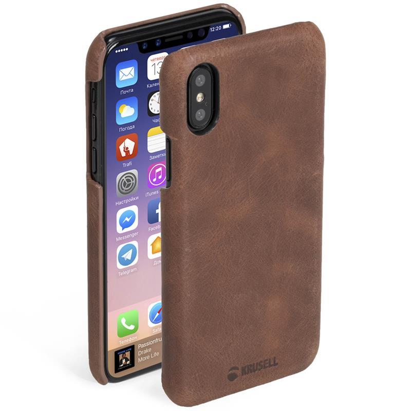 Krusell Sunne Cover - Skórzane etui iPhone X (Cognac)