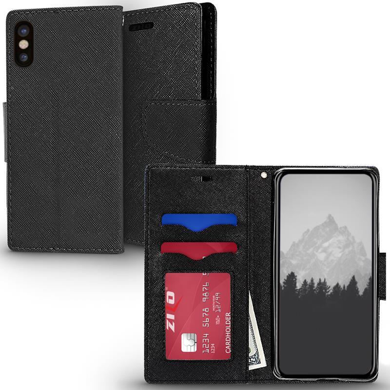 Zizo Flap Wallet Pouch - Etui iPhone X z kieszeniami na karty + stand up (Black/Black)