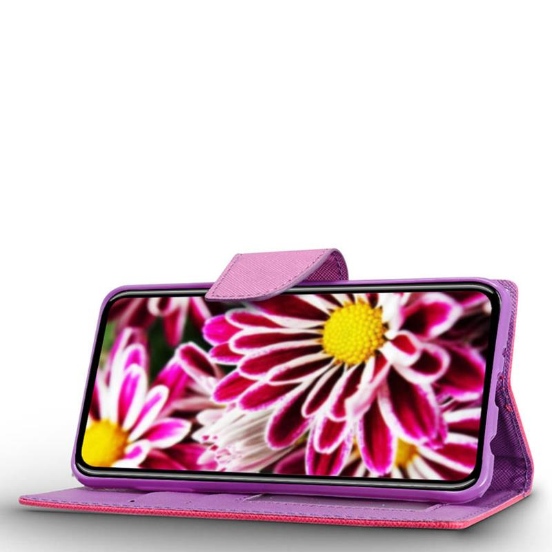 Zizo Flap Wallet Pouch - Etui iPhone X z kieszeniami na karty + stand up (Pink/Purple)
