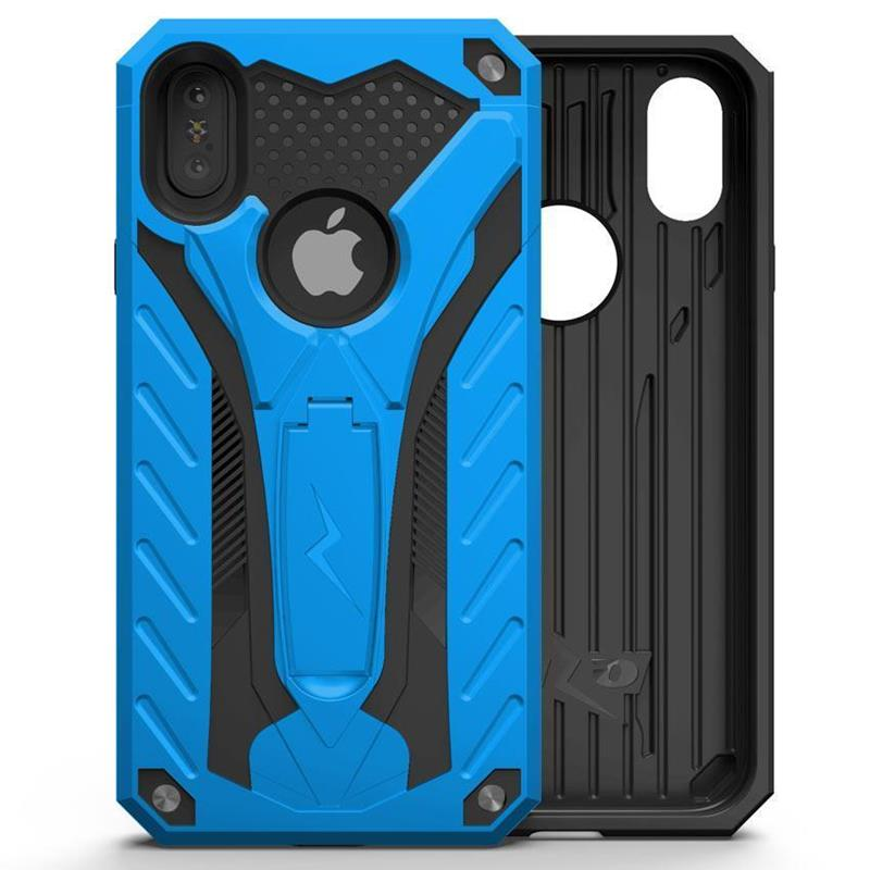 Zizo Static Cover - Pancerne etui iPhone X z podstawką (Blue/Black)