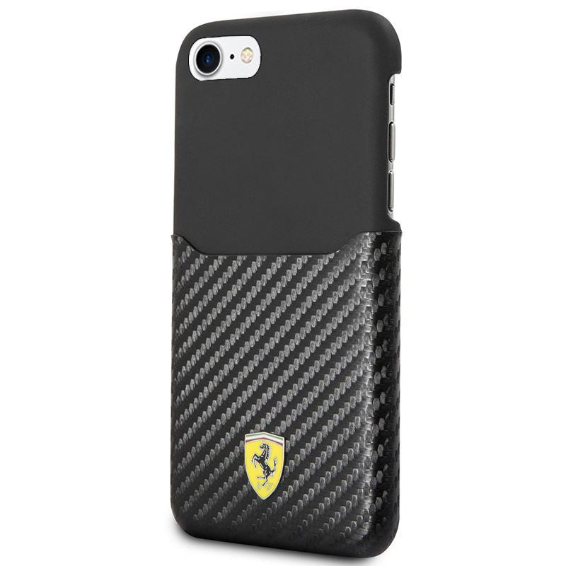 Ferrari Carbon Hard Case - Etui iPhone 8 / 7 z kieszenią na kartę (czarny)