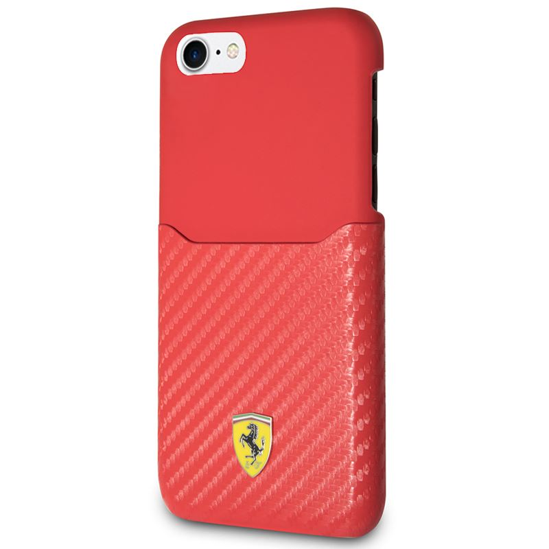 Ferrari Carbon Hard Case - Etui iPhone 8 / 7 z kieszenią na kartę (czerwony)