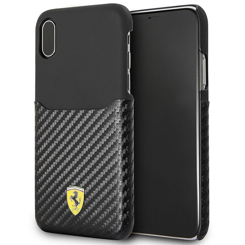 Ferrari Carbon Hard Case - Etui iPhone X z kieszenią na kartę (czarny)