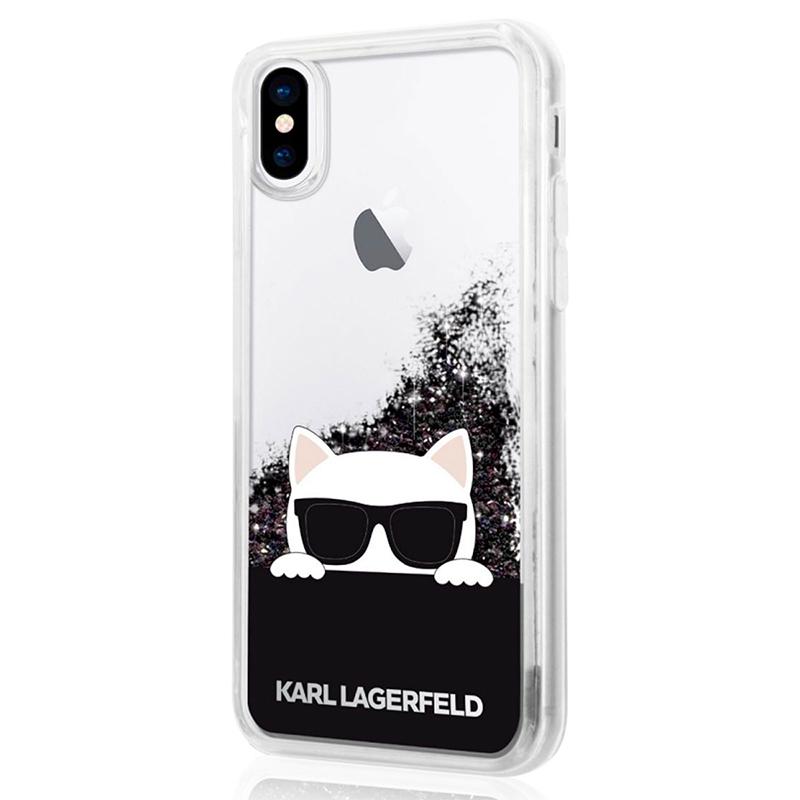 Karl Lagerfeld Choupette Sunglass - Etui iPhone X (Glitter Black)