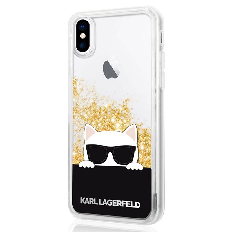 Karl Lagerfeld Choupette Sunglass - Etui iPhone X (Glitter Gold)