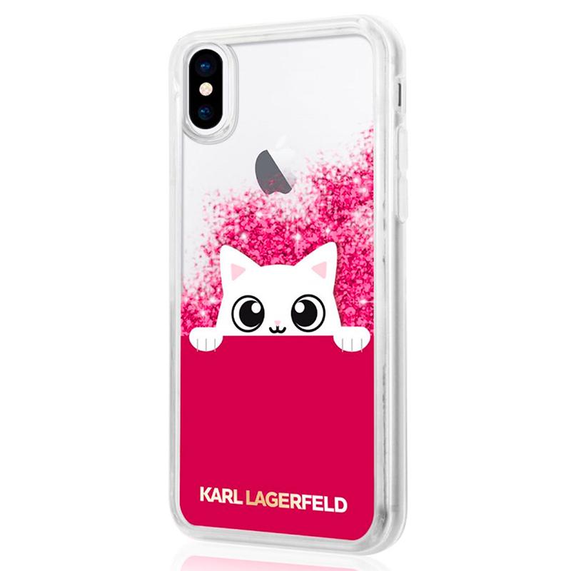 Karl Lagerfeld K-Peek A Boo - Etui iPhone X (Glitter Fushia)