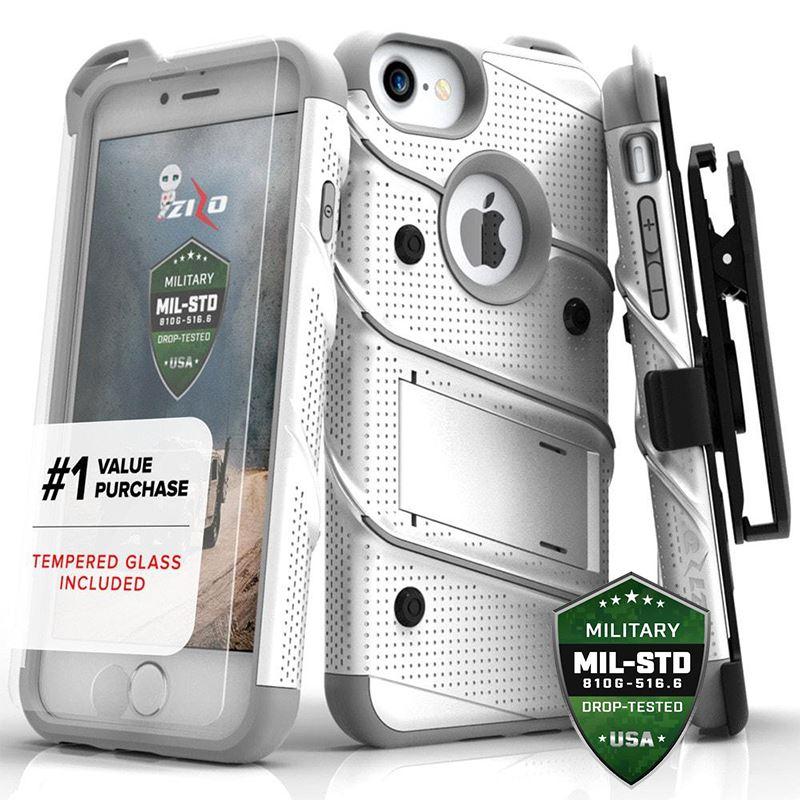 Zizo Bolt Cover - Pancerne etui iPhone 8 / 7 / 6s / 6 ze szkłem 9H na ekran (biały/szary)