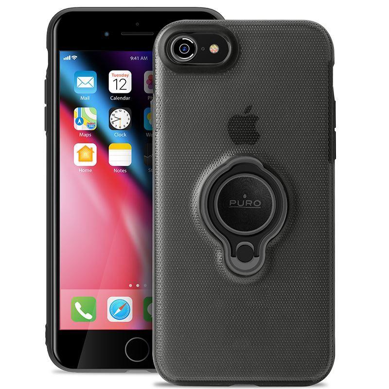 PURO Magnet Ring Cover - Etui iPhone 8 / 7 z magnetycznym uchwytem na palec (czarny)