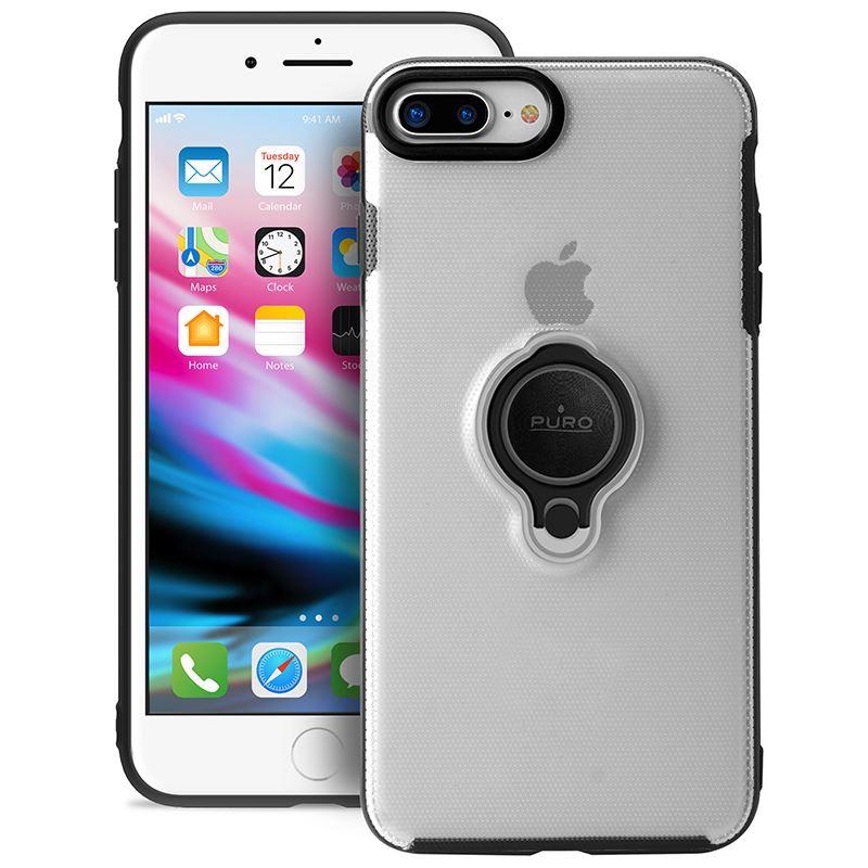 PURO Magnet Ring Cover - Etui iPhone 8 Plus / 7 Plus z magnetycznym uchwytem na palec (przezroczysty)