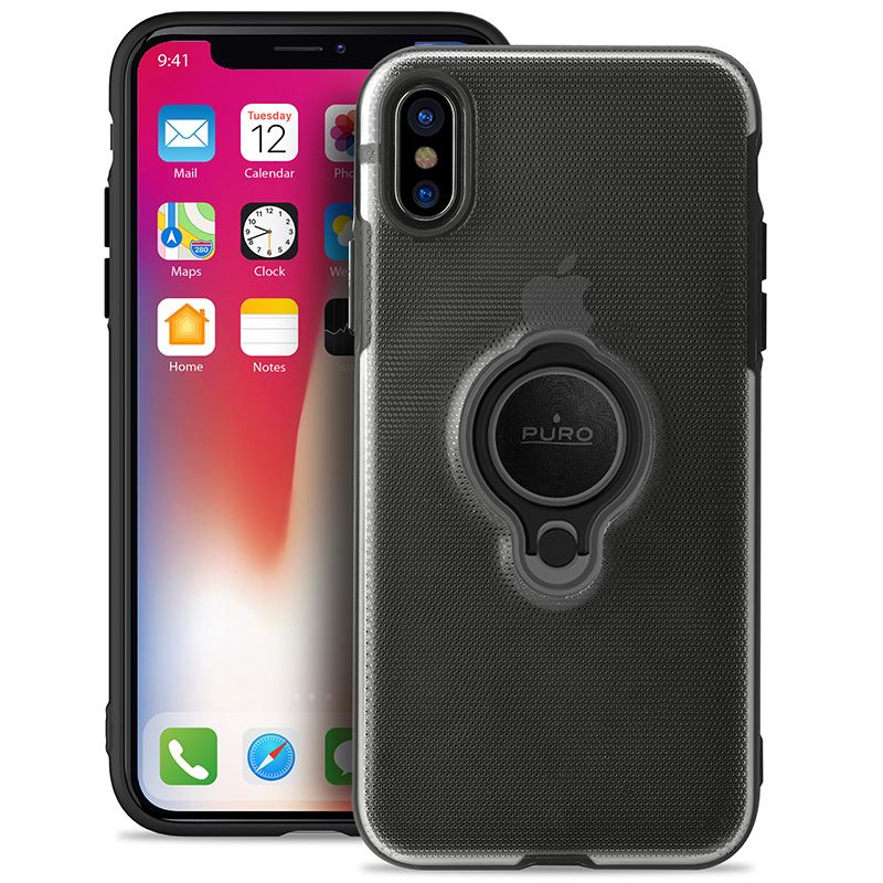 PURO Magnet Ring Cover - Etui iPhone X z magnetycznym uchwytem na palec (czarny)