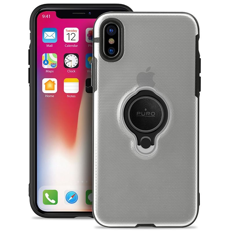 PURO Magnet Ring Cover - Etui iPhone X z magnetycznym uchwytem na palec (przezroczysty)