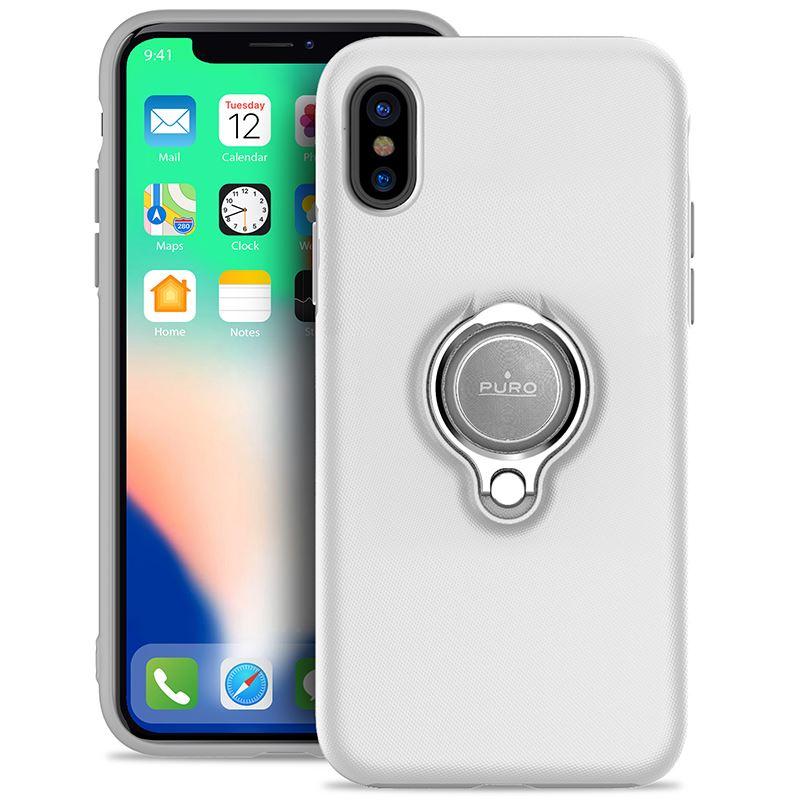 PURO Magnet Ring Cover - Etui iPhone X z magnetycznym uchwytem na palec (biały)