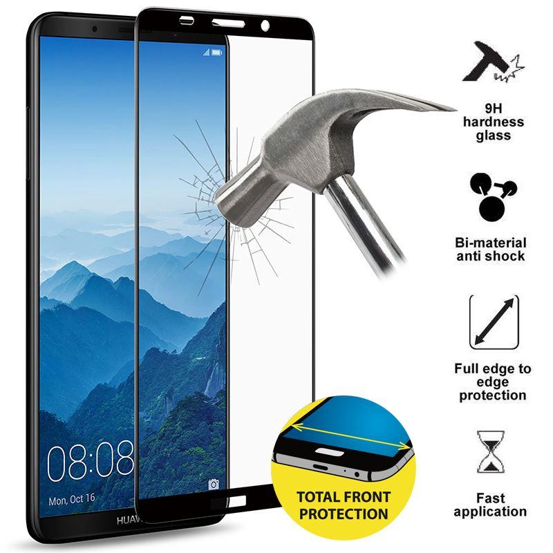 PURO Frame Tempered Glass - Szkło ochronne hartowane na ekran Huawei Mate 10 Pro (czarna ramka)