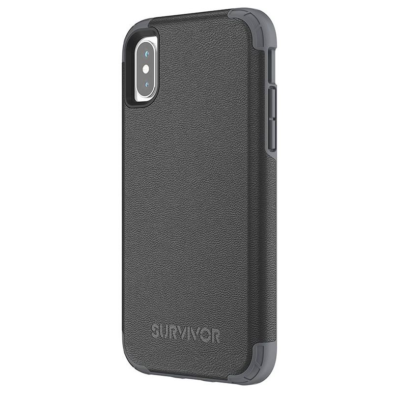 Griffin Survivor Prime Leather - Pancerne etui iPhone X (czarny)