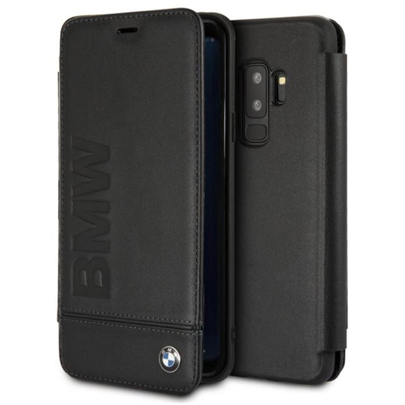 BMW Signature Logo Imprint Book Case - Skórzane etui z klapką Samsung Galaxy S9+ z wytłaczanym logo BMW + kieszenie na karty (czarny)