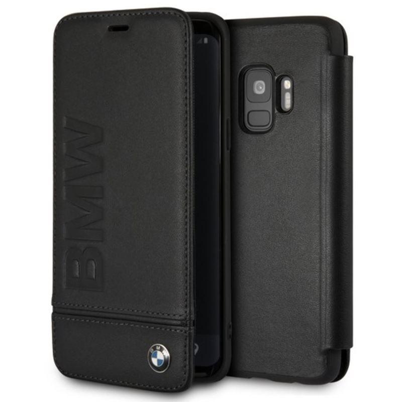 BMW Signature Logo Imprint Book Case - Skórzane etui z klapką Samsung Galaxy S9 z wytłaczanym logo BMW + kieszenie na karty (czarny)