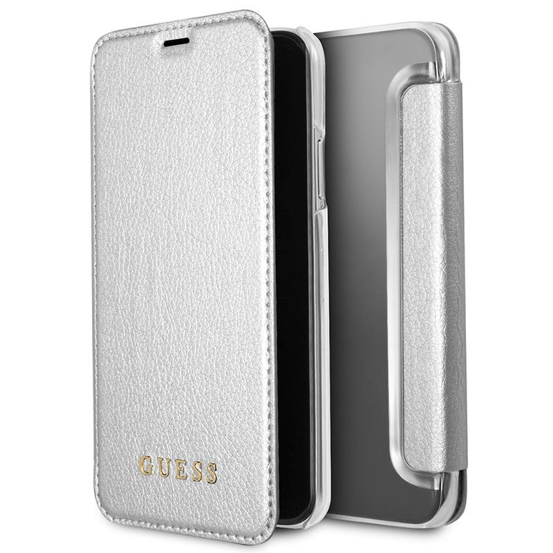 Guess Iridescent Book - Etui iPhone X z kieszeniami na karty (srebrny)
