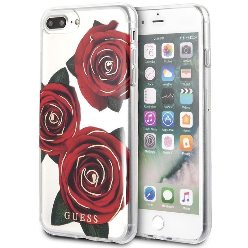 Guess Flower Desire - Etui iPhone 8 Plus / 7 Plus  (przezroczysty/czerwony)