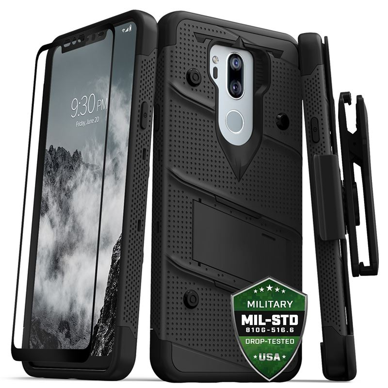 Zizo Bolt Cover - Pancerne etui LG G7 ThinQ ze szkłem 9H na ekran + podstawka & uchwyt do paska (Black/Black)