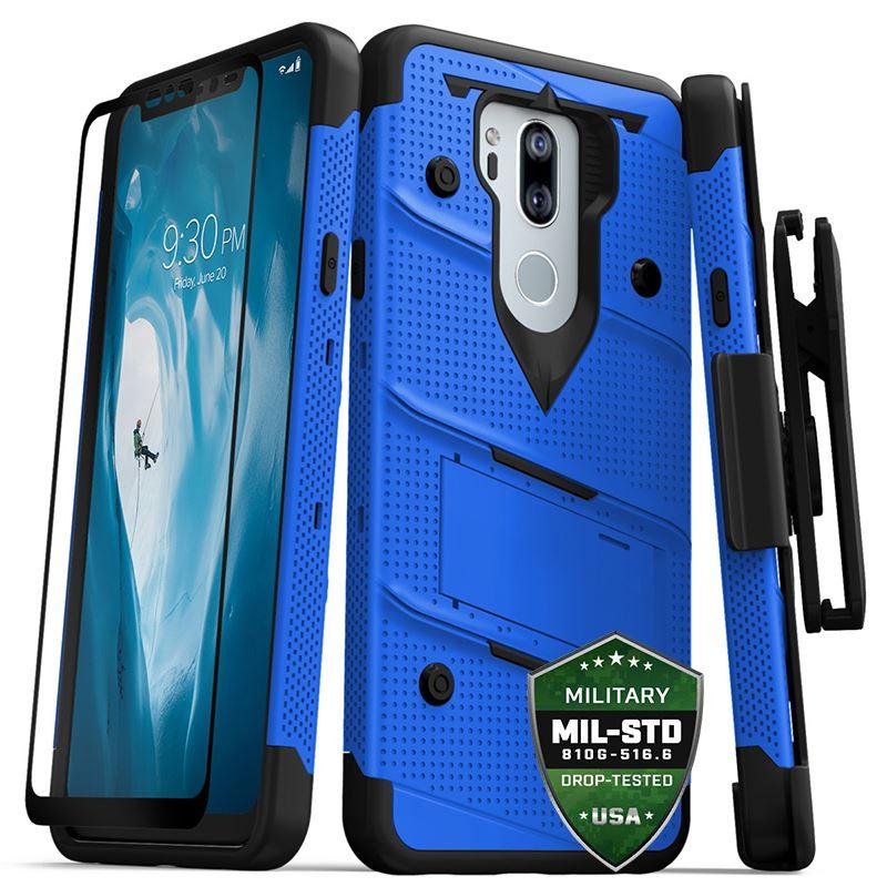Zizo Bolt Cover - Pancerne etui LG G7 ThinQ ze szkłem 9H na ekran + podstawka & uchwyt do paska (Blue/Black)