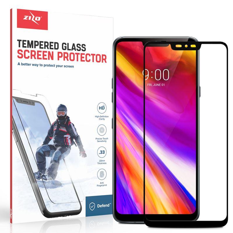 Zizo Full Edge to Edge - Szkło ochronne 9H na cały ekran LG G7 ThinQ (czarna ramka)