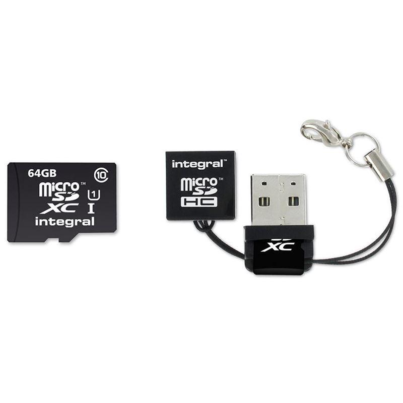 Integral UltimaPro - Karta pamięci 64GB microSDHC/XC 40MB/s Class 10 UHS-I U1 + USB Card Reader
