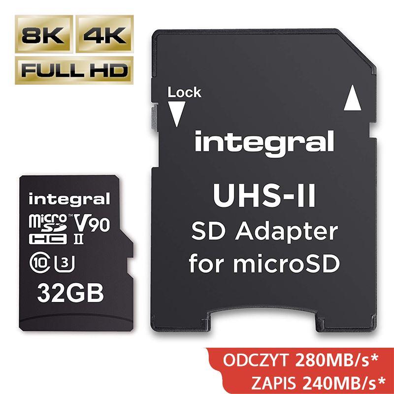 Integral UltimaPro X2 - Karta pamięci 32GB microSDHC/XC 280/240 MB/s Class 10 UHS-II + Adapter