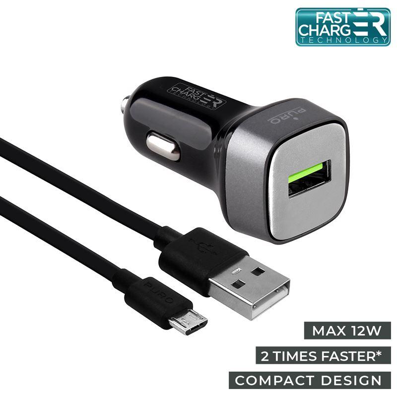PURO Car Fast Charger - Uniwersalna ładowarka samochodowa USB 2.4 A + kabel micro USB 1 m, 12 W (czarny)