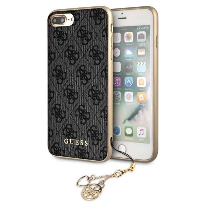 Guess 4G Charms Collection - Etui iPhone 8 Plus / 7 Plus z zawieszką (szary)