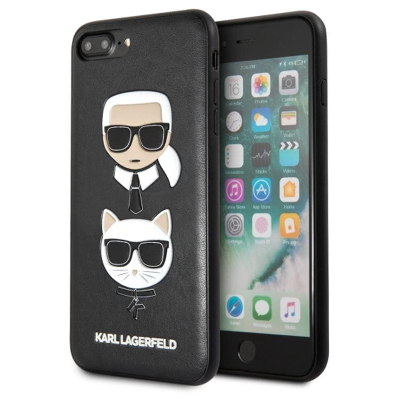 Karl Lagerfeld Embossed Case Karl & Choupette - Etui iPhone 8 Plus / 7 Plus (czarny)